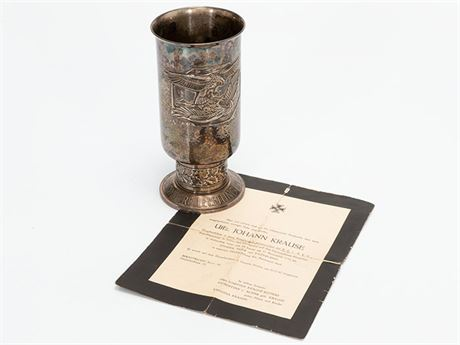 Luftwaffe Honor Goblet to a Bomber Pilot with Death Notice